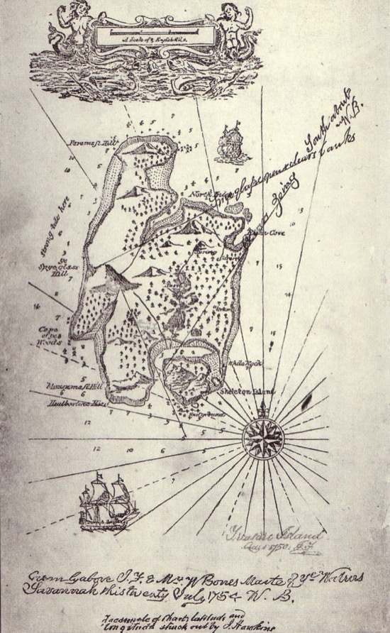 Mapa del tesoro creado por Robert Louis Stevenson.