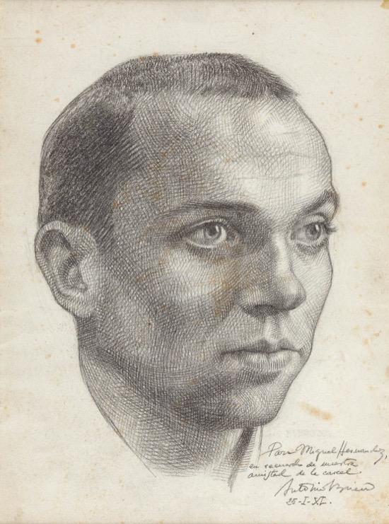 Retrato de Miguel Hernández hecho por Buero Vallejo