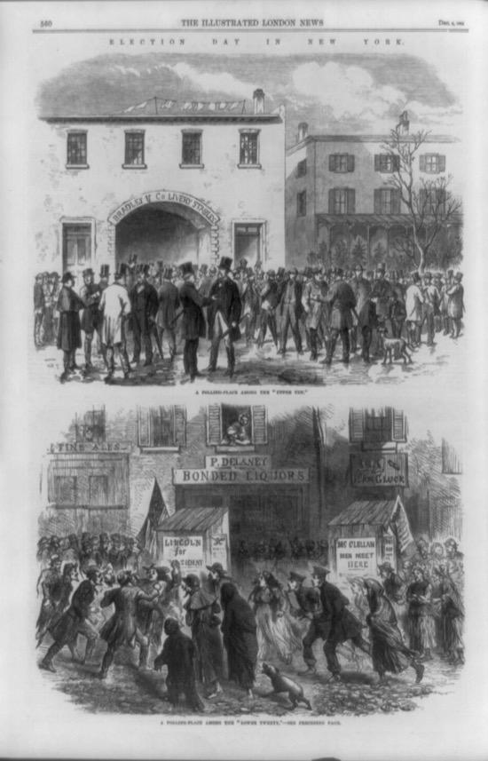 Ilustración de las votaciones en Nueva York en el siglo XIX