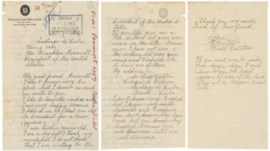 La inocente carta que envió Fidel Castro a Roosevelt cuando era niño