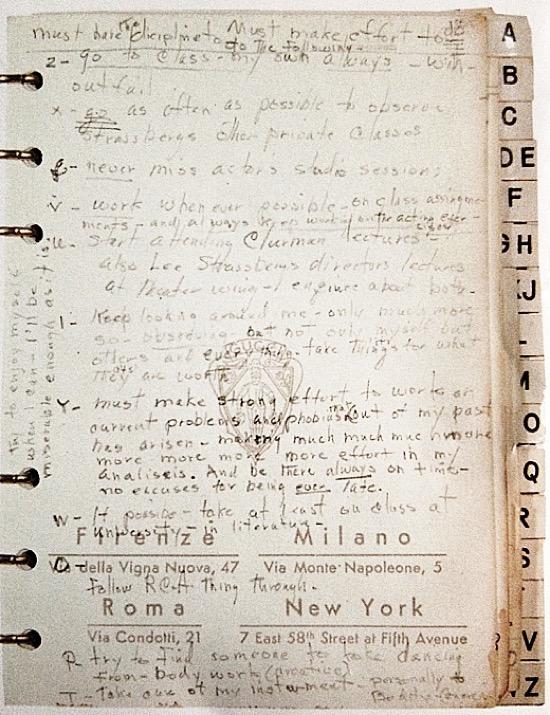 Lista de propósitos de Marilyn Monroe