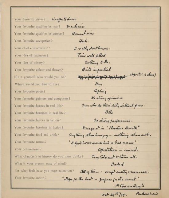 Respuesta de Arthur Conan Doyle al cuestionario de Proust