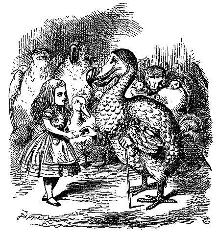 Ilustración de Alicia en el País de las Maravillas en la que se ve un dodo