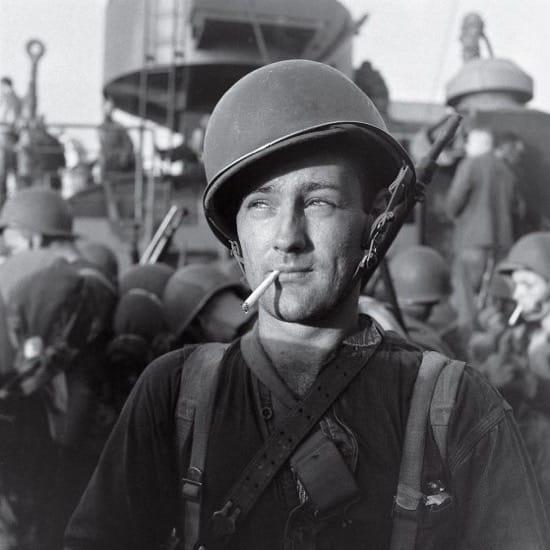 Un soldado listo para desembarca en Guadalcanal. Foto no publicada.