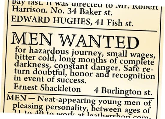 Shackleton nunca puso el famoso anuncio en el Times buscando hombres