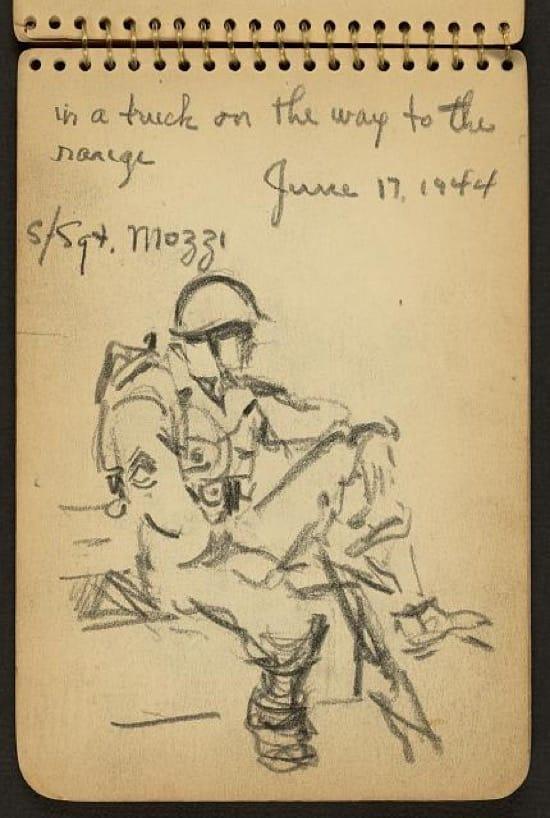 Los dibujos de un soldado en Normandía en 1944