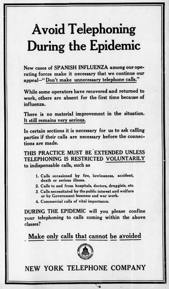 Las restricciones de uso del teléfono durante la gripe de 1918