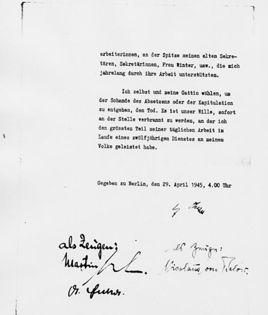Firmas en el testamento de Hitler