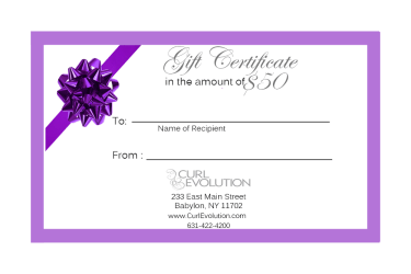 $50 Hair Salon Gift Certificate Long Island