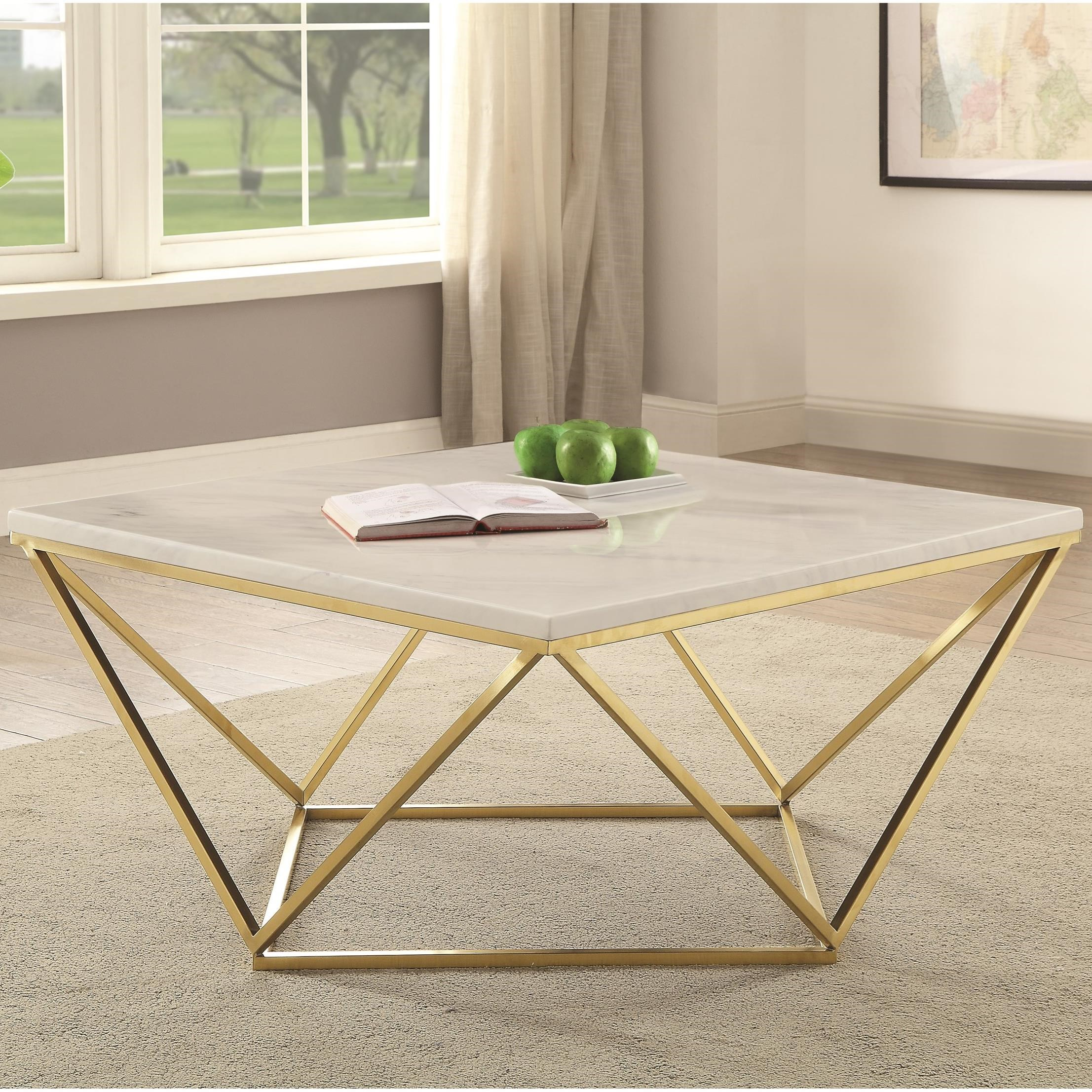 coaster 700846 white marble brass coffee table