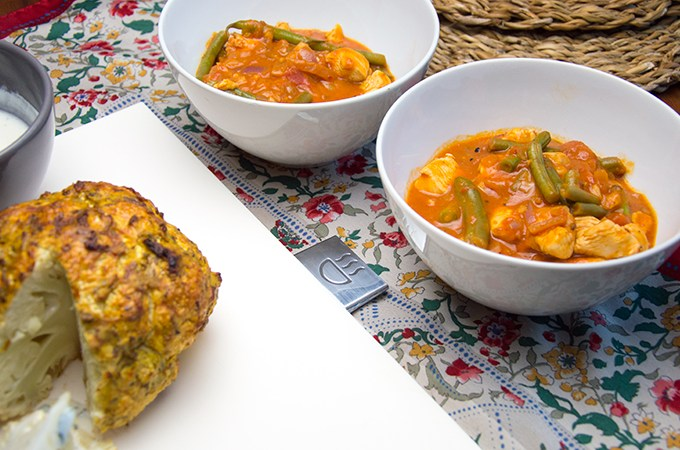 Indiase curry met kip sperziebonen