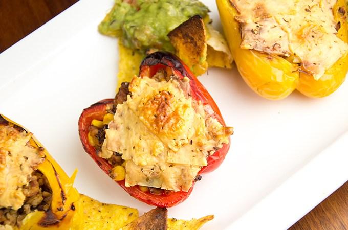Paprika met kip en komijnekaas