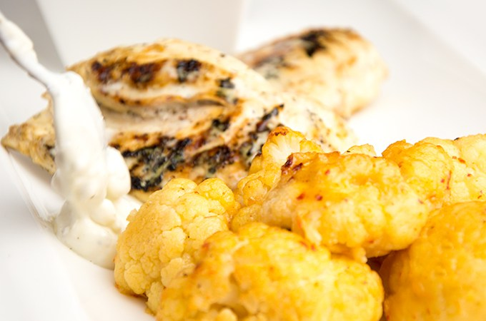 Recept Bloemkool met gegrilde kip