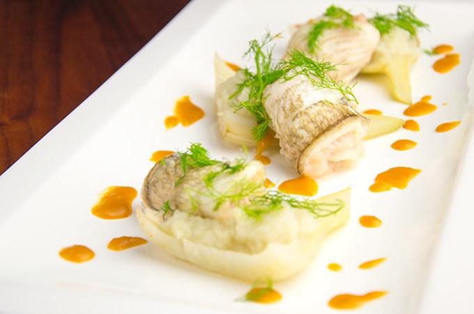 Schol met garnalen en venkel met kreeftensaus