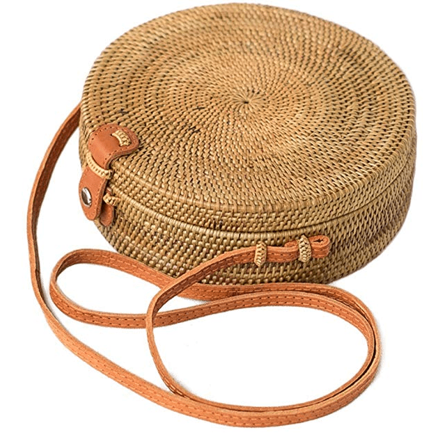 Rattan Bag Linen Inside and Leather Button