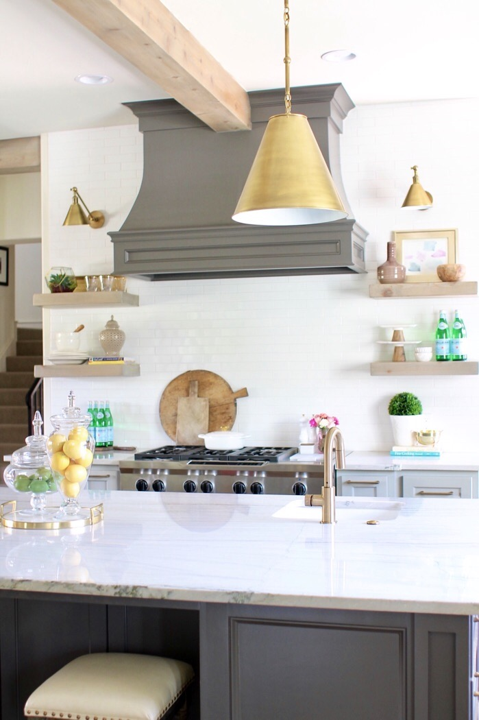 brass visual comfort pendants large marble island grey cabinets - Kitchen Countertops Ideas: How to & Kitchen Countertops Ideas \u0026 Home Decor | Curls \u0026 Cashmere
