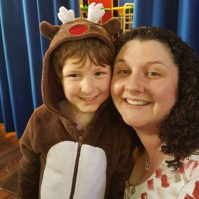 "Taylor as a reindeer in his school production of ""Santa on Strike""."