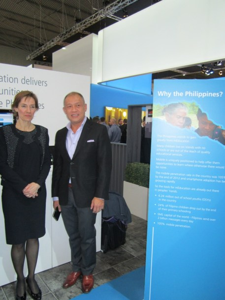 Globe President and CEO Ernest L. Cu with Anne Bouverot, Director General and Member of the Board of GSMA at the Globe m-Education booth, GSMA Mobile World Congress in Barcelona, Spain