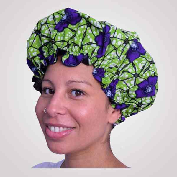 bonnet intérieur satin protecteur de boucles curly nights garden cheveux crépus