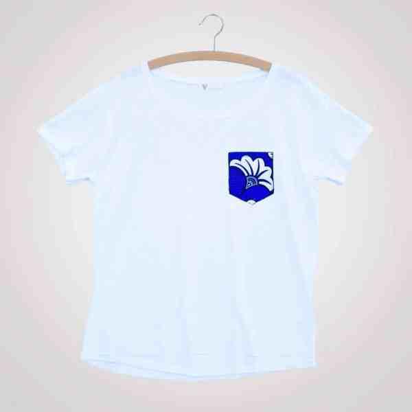 tshirt blanc girlfriend flora blue poche en wax pyjama 100% coton