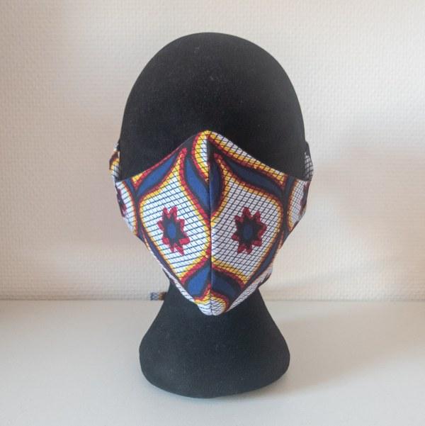 masque anti-projection lavable réglable coton wax coronavirus covid-19 protection visage nez bouche ARABESQUE