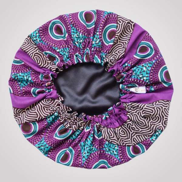 bonnet de nuit satin wax élastique curly nights VIOLINE