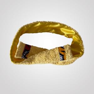 bandeau de sport et cosmétique en satin et éponge curly nights jaune citron