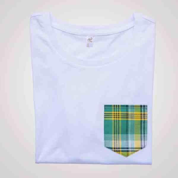 t-shirt blanc femme coupe ample pyjama poche madras vert curly nights