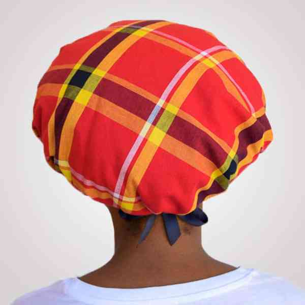 bonnet satin nuit réglable curly nights cheveux bouclés crépus protection madras rouge