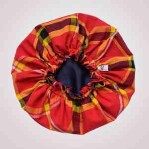 bonnet satin nuit élastique curly nights cheveux bouclés crépus protection madras rouge
