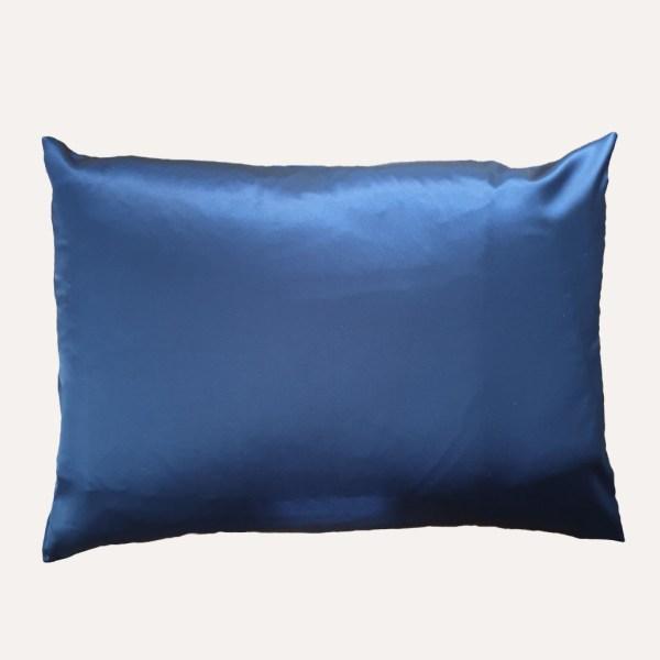 taie d'oreiller double face coton satin unie bleu marine rectangulaire