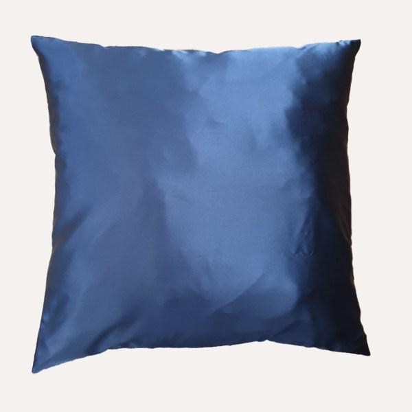 taie d'oreiller double face coton satin unie bleu marine carrée