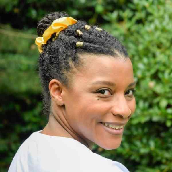 chouchou satin cheveux bouclés crepus jaune citron