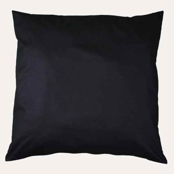 taie d'oreiller double face coton satin unie noir profond carrée