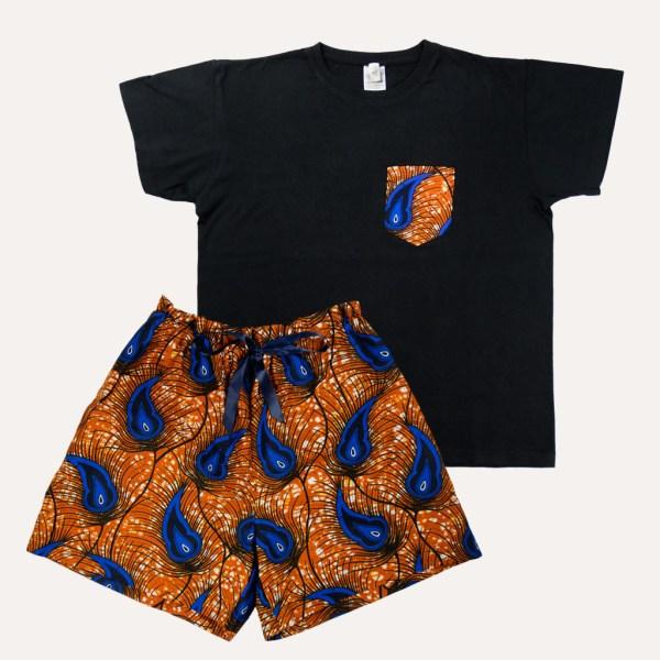 pyjama tshirt short curly nights poches wax coton PAON D'OR