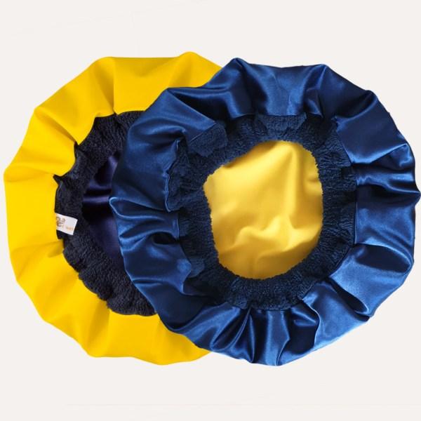 bonnet soins capillaires et douche imperméable auto chauffant écoresponsable curly nights jaune