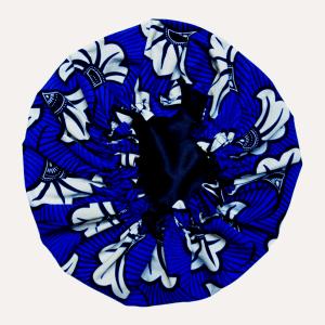 bonnet satin élastique curly nights FLORA BLUE