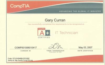 CompTIA A+ Technician 2007 Certificate