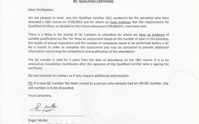 RECI Testing and Verification Qualified Certifier – 2013