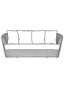 eden roc 2 seater sofa loose back replacement cushion set incl seat and 4 casual pointed back cushions