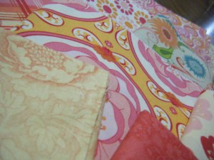 Close up of fabric selection