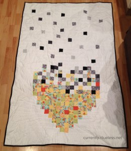 The back of the quilt, where the happiness is taking over and pushing out the hurt and sadness