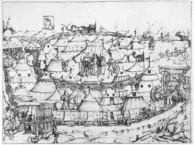 The Czech wagenburg from the Hussite Wars (1420-1433 between Czechs and Germans). This illustration is from Das Mittelateriche Hausbuch, late 15th century.  Note the conical tents!