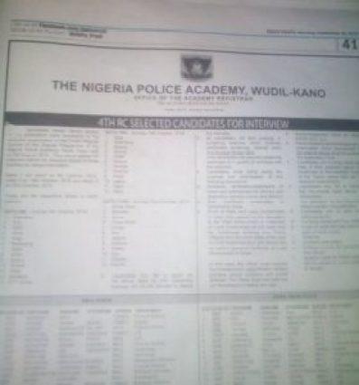 Nigeria Police Academy List of Shortlisted