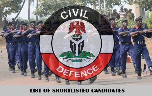 NSCDC Shortlisted Candidates 2021