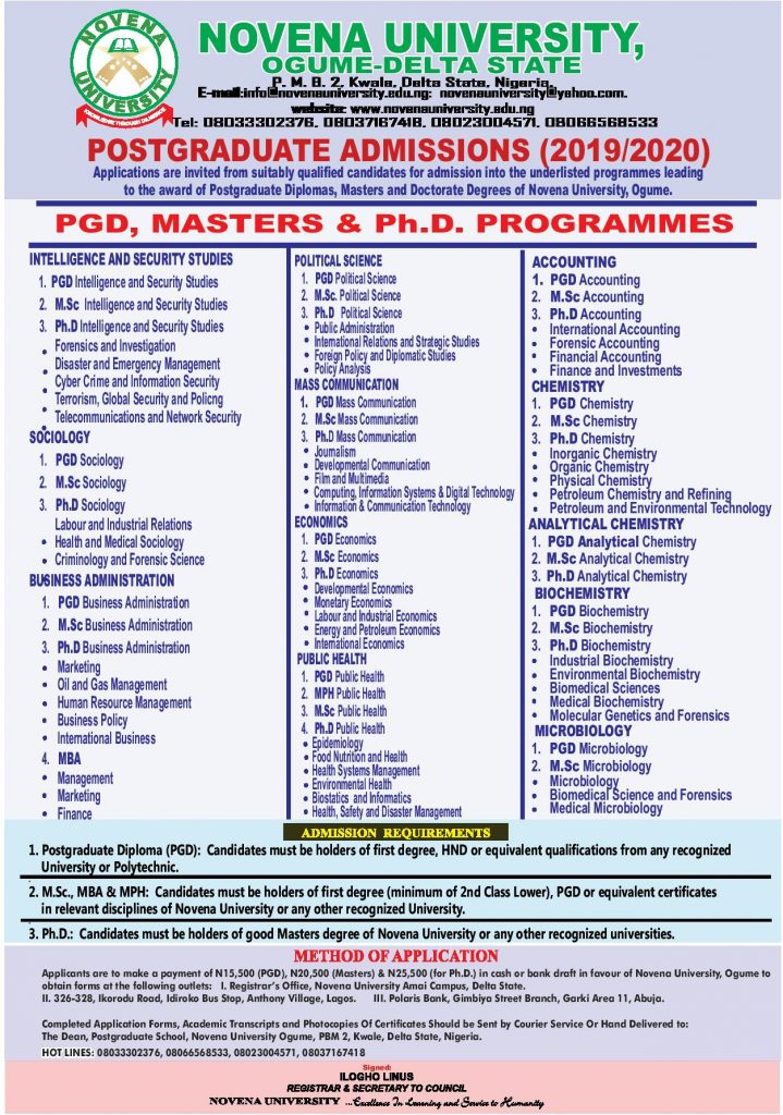 Novena University Postgraduate Admission Form2