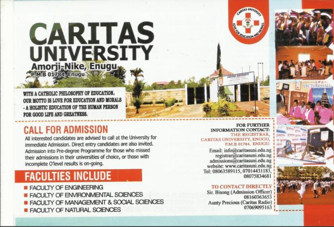 Caritas University Admission