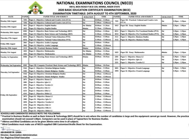 NECO BECE Timetable 2