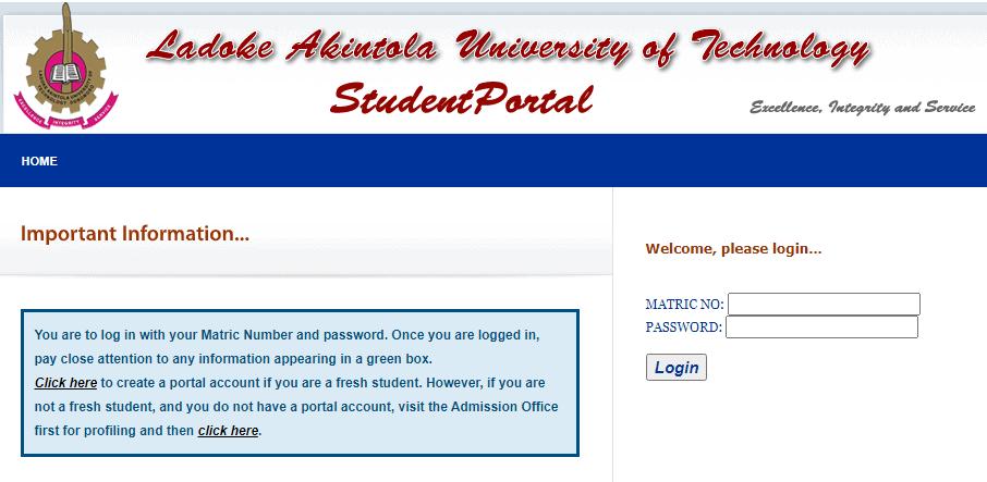 LAUTECH Student Portal Login
