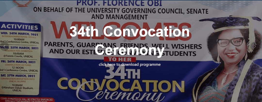 UNICAL Important Notice to Graduands 2021